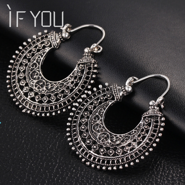 468e78c497 VIVILADY Vintage Tibetan Silver Color Oval Hoop Earrings Femme ...