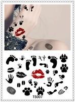 Yeeech Temporary Harajuku Tattoo Sticker Lipsticker Foot Finger Hand Shoe Print Design Black Red With Vacuum