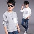 Chicos Camisetas de Algodón Niños Ropa de Manga Larga Gris Blanco Adolescente Boy Tees niños ocasional tops 4 6 7 8 9 10 12 14 años