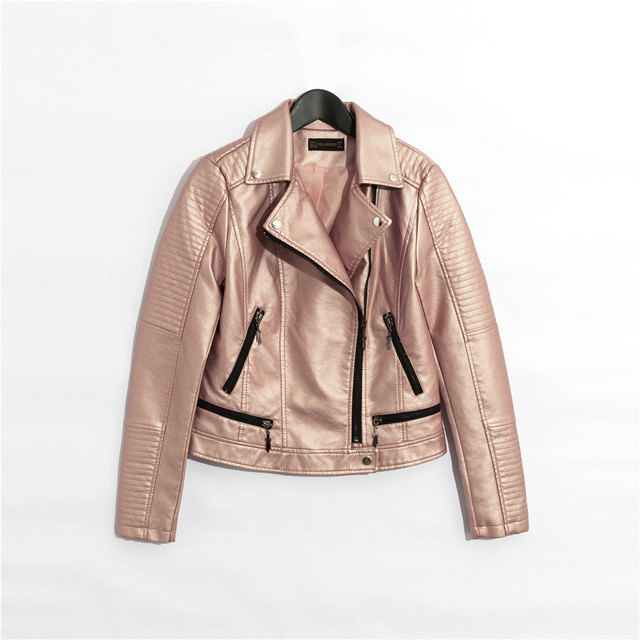 2018 mujeres faux chaqueta de cuero corta de manga larga forro completo  rosa azul de plata 538d15bc070b