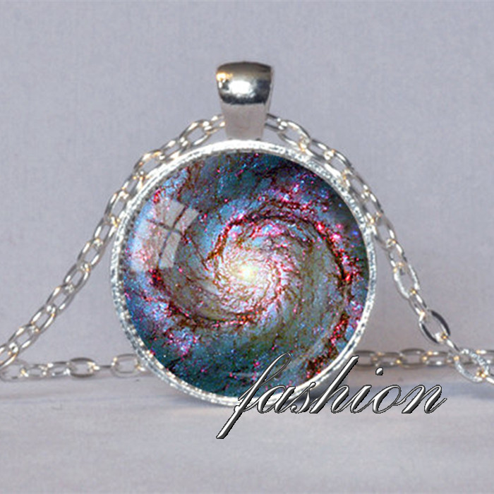 GALAXY PENDANT Whirlpool Galaxy Astronomy Gift for Astronomer Space Jewelry Geek Gift for Science Jewelry Necklace Hubble Image image