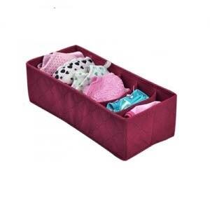 Caja de almacenamiento de ropa interior de color rojo vino 6, caja de acabado de tela no tejida 33 * 15 * 10 cm