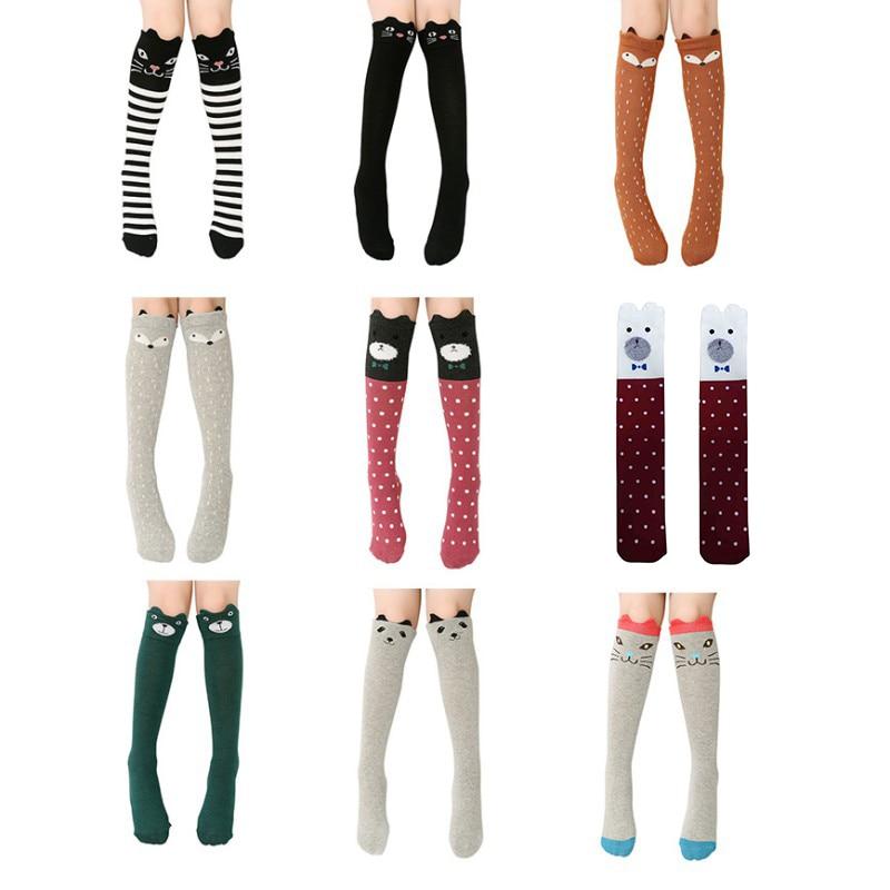 Cartoon Cute Children Socks Print Animal Cotton Baby Kids Socks Knee High Long Fox Socks For Toddler Girl Clothing Accessories
