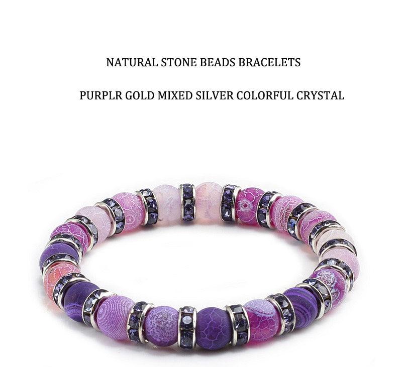 1Pcs Classic Colorful Purple Love Crystal Beaded Chakra Yoga Bracelet Female Natural Stone Beads Bracelets Women Men Jewelry Hot 1
