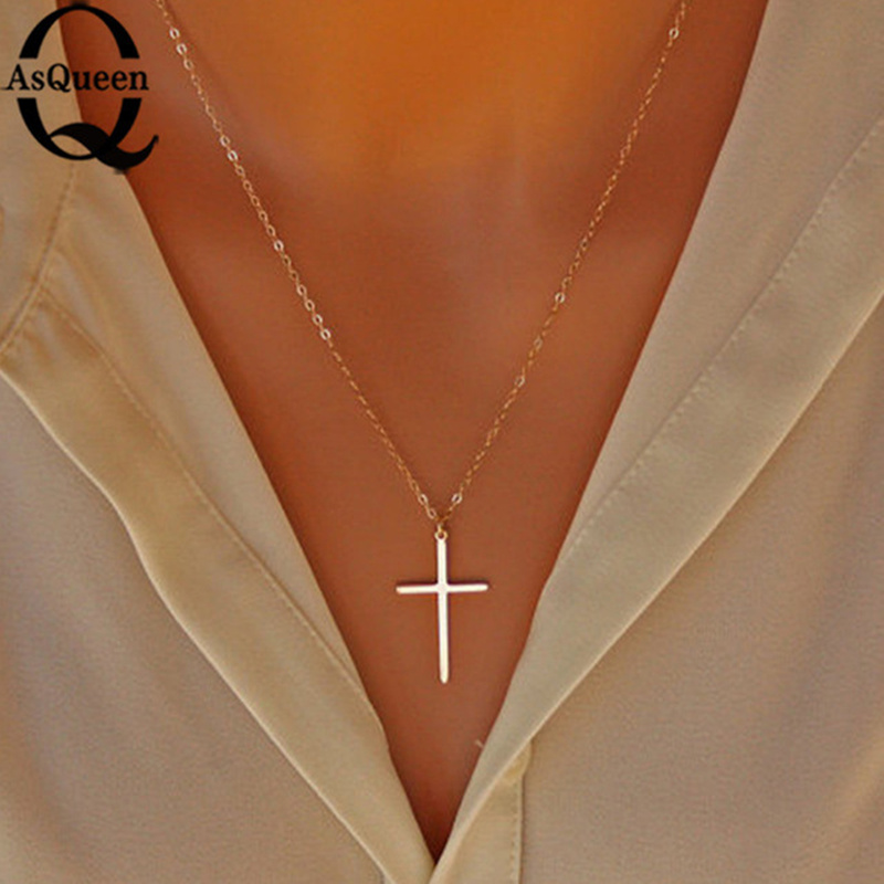 Small Gold Cross Pendant Necklace Women Girl Kids Mini Charm Pendant Gold Color Jewelry Crucifix Christian Ornaments