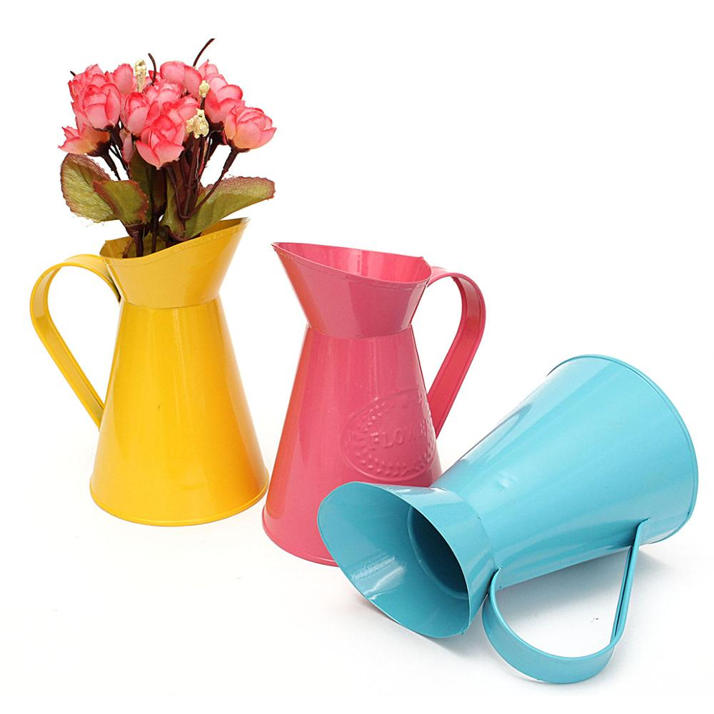 3 Colors Vintage Shabby Chic Flowerpots Planter Pitcher Vase Water Pot Wedding Table Home Decor