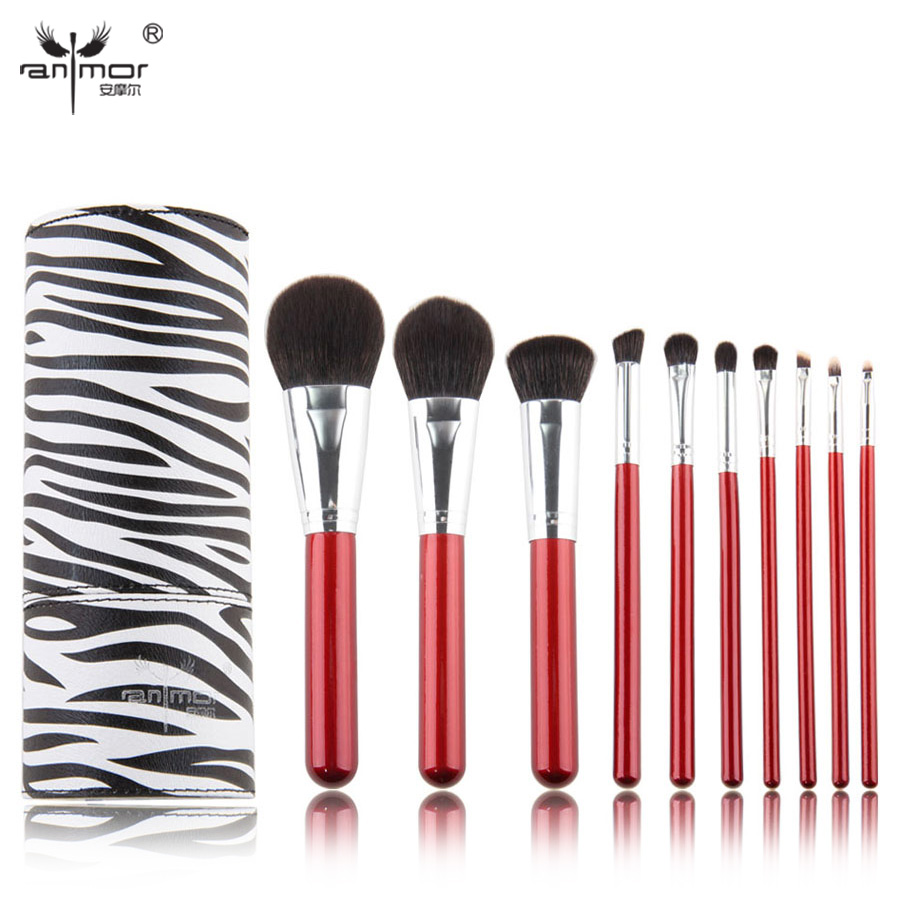 Professional Makeup Brush Set 10 pcs Synthetic Makeup Brushes High Quality Make Up Brushes With PU Brush Cup at fashion 12 pcs makeup brushes set studio holder portable make up cup natural hair synthetic duo fiber makeup brush tools kit