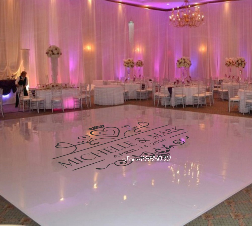 Wedding floor sticker personalised name vinyl removable for Floor decoration