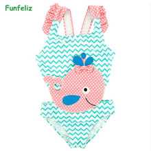 Funfeliz Cute Dolphine Swimwear for Kids One piece Baby Girl Swimsuit Striped Swimming suit 2018 Bathing Suits 12M-6Y