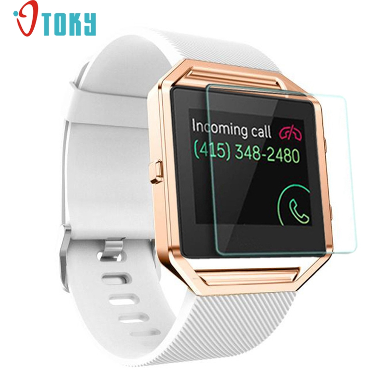 Excellent Quality Soft Silicone Watch Band Wrist Strap+Metal Frame+HD Film For Fitbit Blaze Watch Dropship Wholesale Price #N02