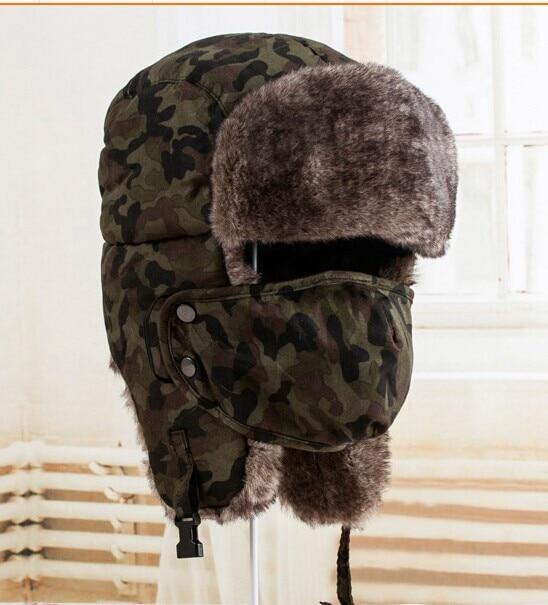 6e489385a6ed8 Free Shipping 2018 New Mens Winter Camo Fur Trapper Hats-in Men s ...