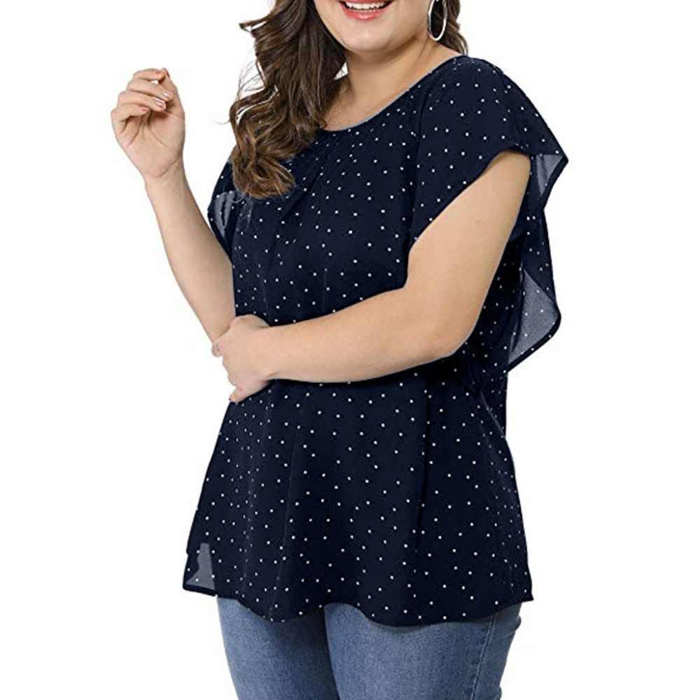 女性ブラウスプラスサイズフリル袖水玉シフォンブラウス女性の夏の O ネックトップス blusas elegantes デ mujer 15 #