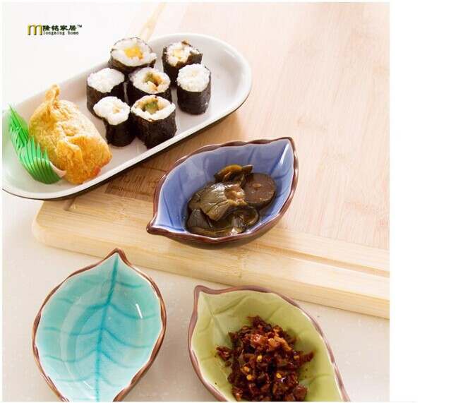 1PC Kitchen Bowl kitchen Tool dish Creative ice crack glaze leaf ceramic seasoning soy sauce vinegar small plates OK 0053 ...