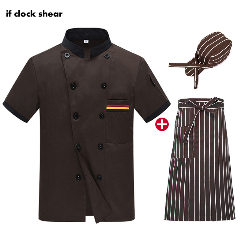 Unisex Food Service Double Breasted Brown Short Sleeve Chef Jacket Restaurant Kitchen Uniform Wholesale Summer Chef Work Clothes