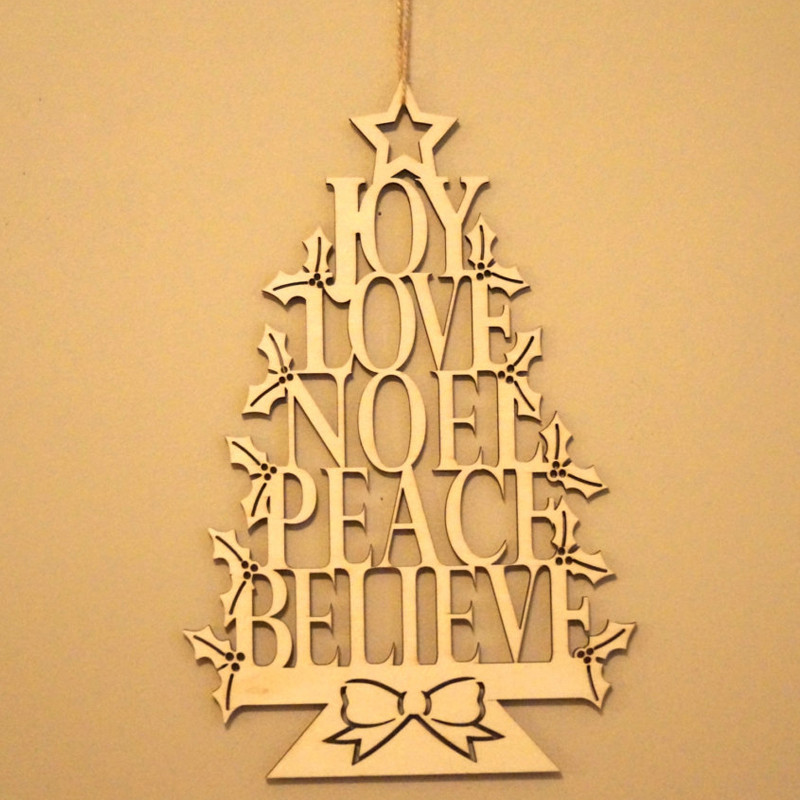 Us 10 0 Wooden Laser Cut Christmas Tree Shape Pendant Christmas Tree Hanging Ornaments Christmas Decorations New Year Party Supplies In Party Diy