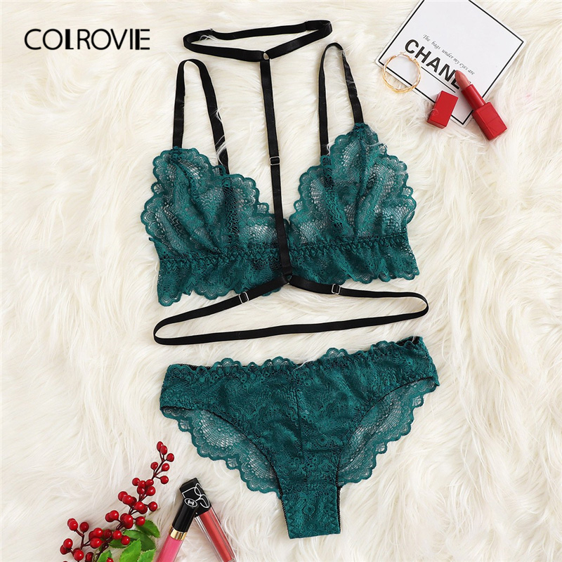 COLROVIE Green Solid Lace Sheer Sexy Lingerie   Set   With Choker 2019 Wireless Underwear   Bra     Set     Briefs   Women Intimates