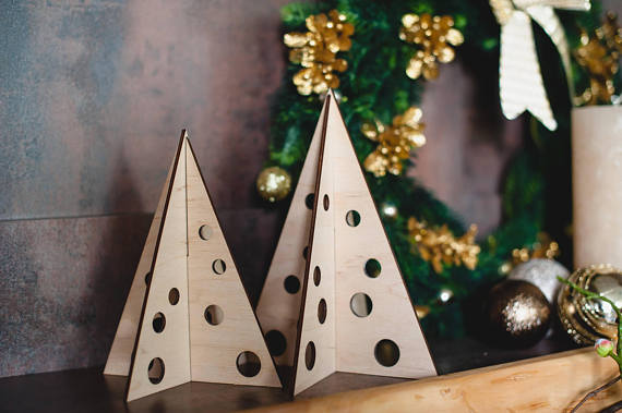 hristmas trees made of plywood in natural color - Christmas decorations - stylish home d ...