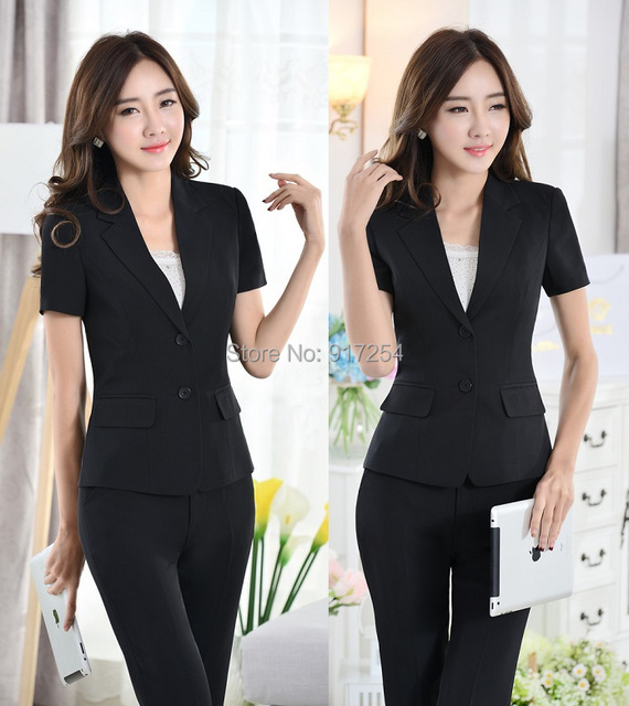 New 2015 Spring Summer Formal Pantsuits Uniform Style Office Ladies Blazers Suits Jackets And Pants Business Trousers Suits