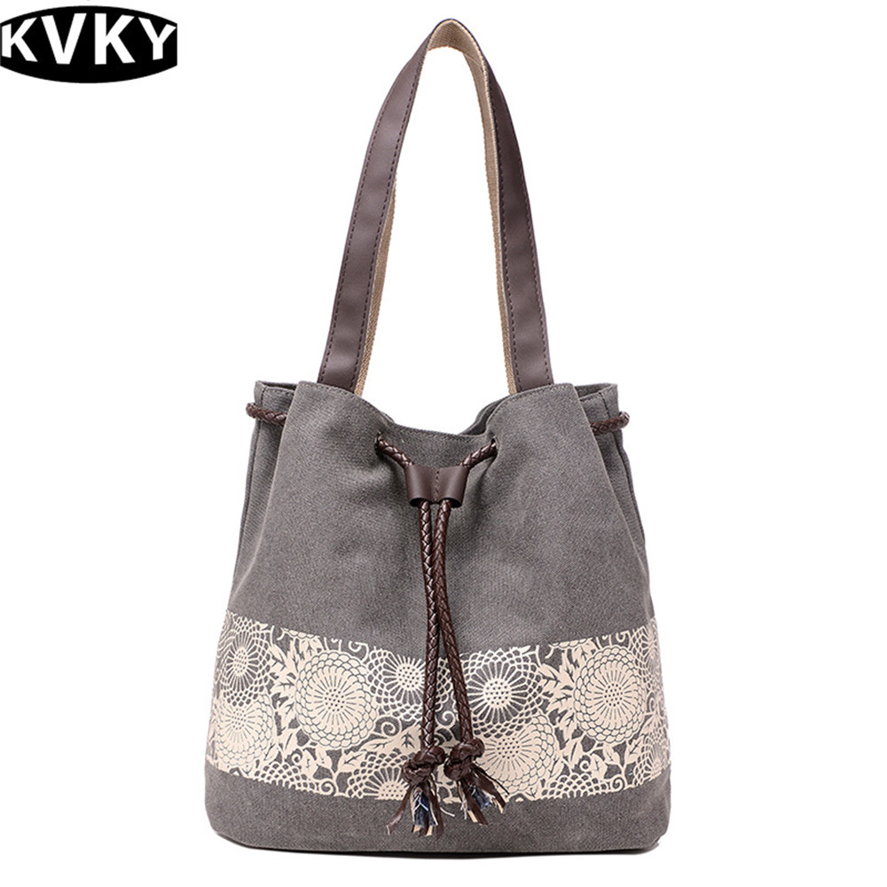 Shoulder Bags Famous Brands Designer Lace Printing MS Handbags Canvas Vintage Tote Bag