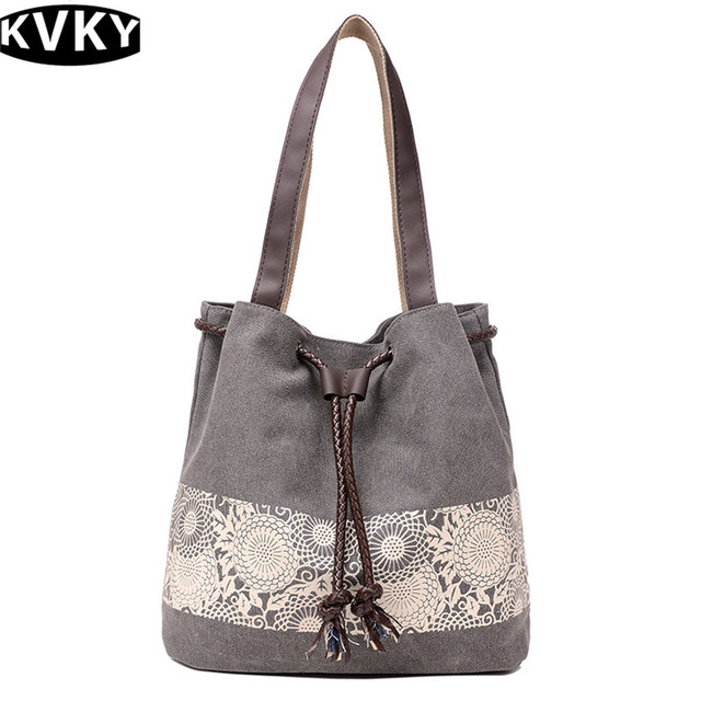 KVKY High Quality Women shoulder bags Famous Brands Luxury Designer Women s  Lace Printing MS handbags Canvas Vintage tote bag 42886e32bcdbc