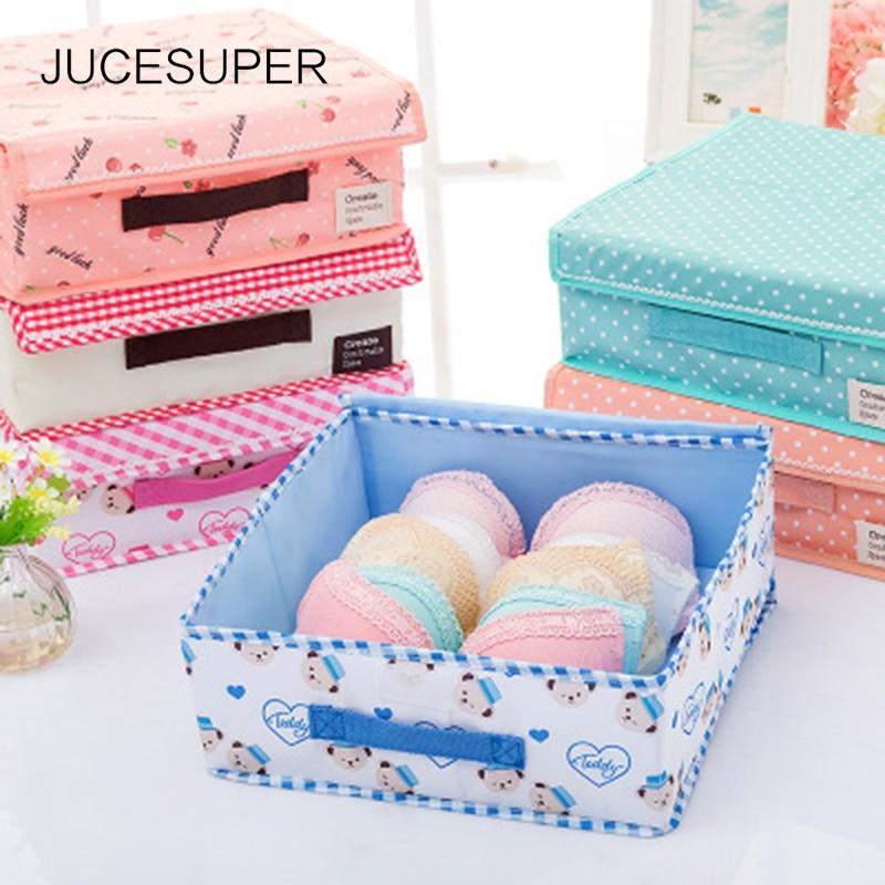 Briefs:  JUCESUPER New Folding Storage Box Underwear Bra Socks Briefs Organizer Box Washable No Cell Cartoon Pattern Home Storage - Martin's & Co