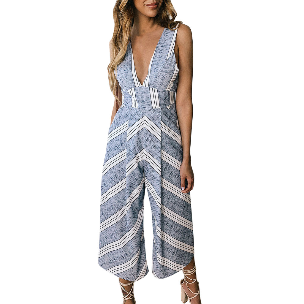 Jaycosin clothes Women Summer Playsuit For Holiday Ladies Summer high quality Round neck Beach Jumpsuit