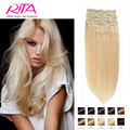 Color 60 # Clip in Human Hair Extensions Blonde Human Hair Clip In Extensions 70g-200g  Platinum Blonde Remy Human Hair Clip In