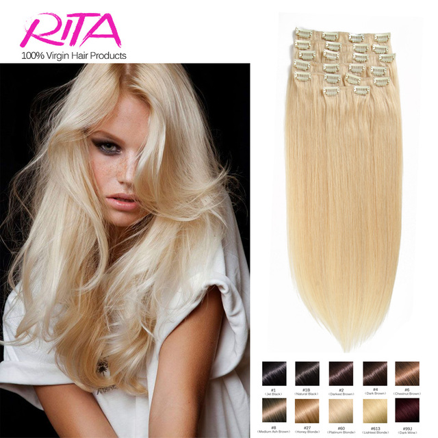 Color 60 Clip In Human Hair Extensions Blonde 70g