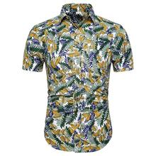 Casual Short sleeve Flower Mens Shirt Summer Blouse Men Floral Hawaiian Style Fashion New