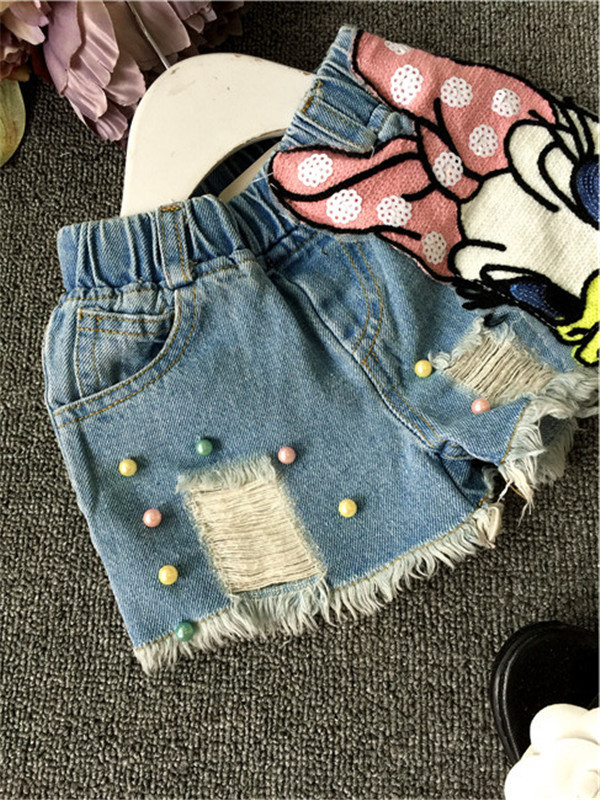 Summer Chica Denim Shorts Ninas De Dibujos Animados Daisy Jeans Shorts Bebe Denim Roto Pantalones Cortos Para Ninos Ropa Del Desgaste Del Verano Clothes China Clothes Dyeclothes Hanger Making Machine Aliexpress