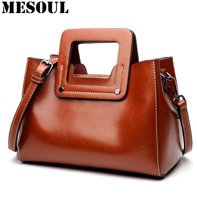 Vintage Women Handbags Genuine Leather Wide Shoulder Straps Crossbody Bag Female New Style Small Ladies Bag
