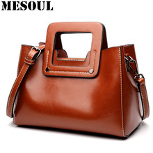 Vintage Women Handbags Genuine Leather Wide Shoulder Straps Crossbody Bag Female New Style Small Ladies Bag Fashion Shoulder Bag