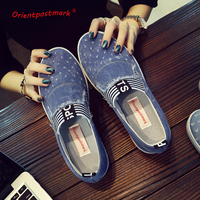Calças de Brim das mulheres Sapatos flats Moda Casual Denim Sapatos de Alta Qualidade Os Alunos Sapatos de Lona Sola Macia Respirável Sapatos Novos da Chegada Prevista