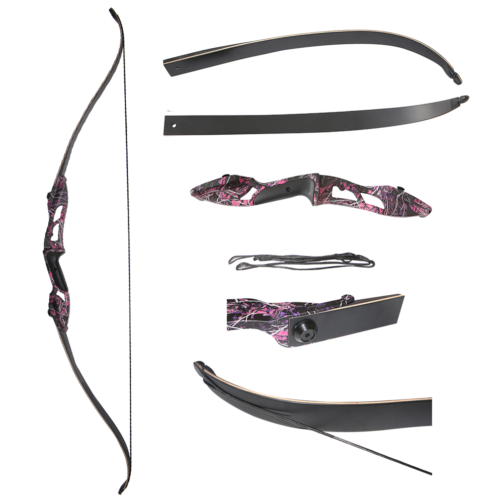 купить 1 piece 30-50 lbs Cheaper Archery Takedown Recurve Bow With Puple Riser Black Limbs For Hunting Training по цене 4629.27 рублей