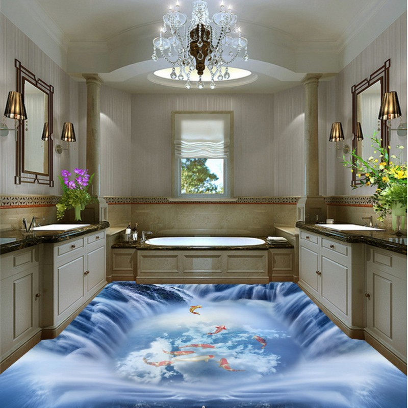 ФОТО Free Shipping custom floor wallpaper Carp leaps water flow sticker kitchen wear study self-adhesive floor mural