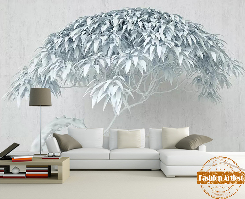 Outstanding Us 20 99 Custom 3D White Snow Tree Wallpaper Mural Peace Life Winter Tree Painting Office Sofa Mens Bedroom Living Room Cafe Restaurant In Gmtry Best Dining Table And Chair Ideas Images Gmtryco