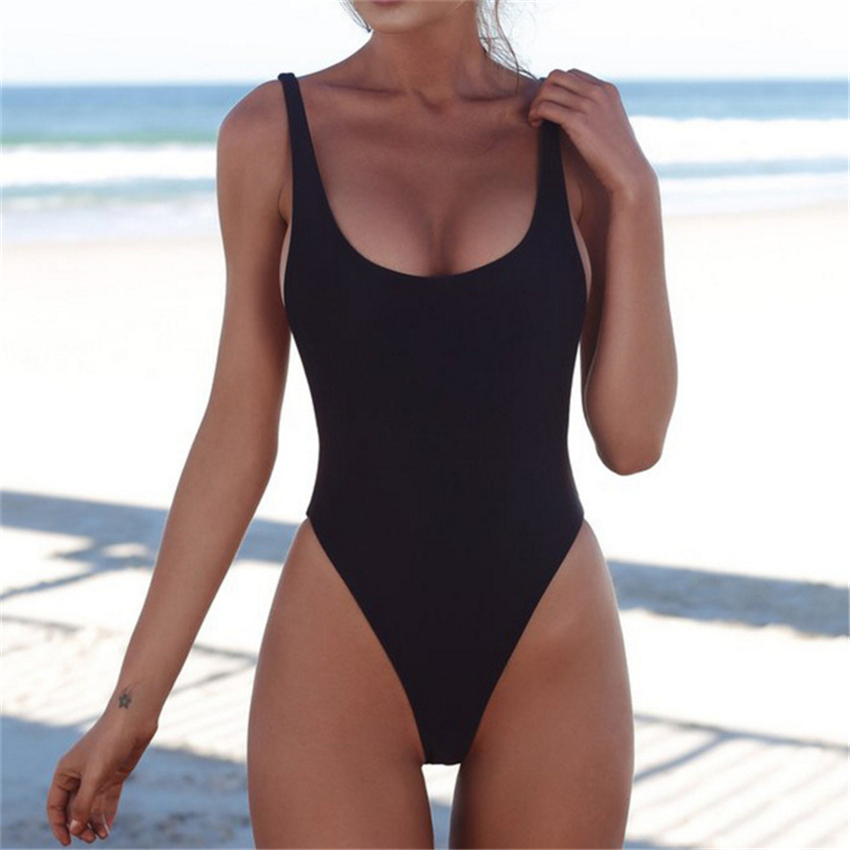 LELINTA Women Swimwear Sexy High Cut One Piece Swimsuit Backless Swim Suit Black White Red Thong Bathing Suit Female Monokini