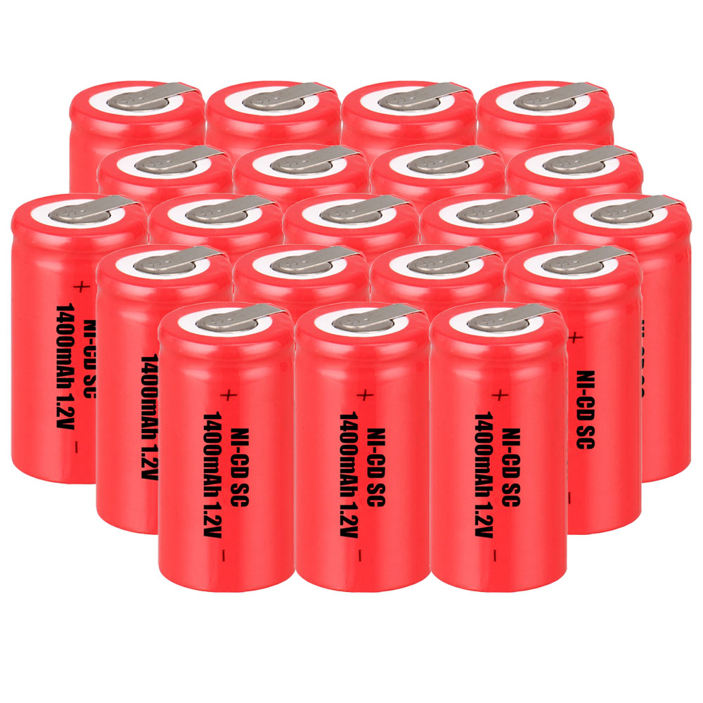 Lowest price 20 piece SC battery 1.2v batteries rechargeable 1400mAh nicd battery for power tools akkumulator