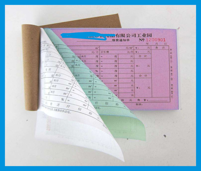 custom sample delivery printer hotel rent restaurant cash invoice bill carbon paper receipt book printing