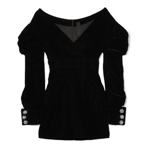 Image 4 - TWOTWINSTYLE Off Shoulder Velvet Party Dress Women Puff Long Sleeve Black Mini Dresses Female Big Sizes Sexy Fashion Autumn 2020