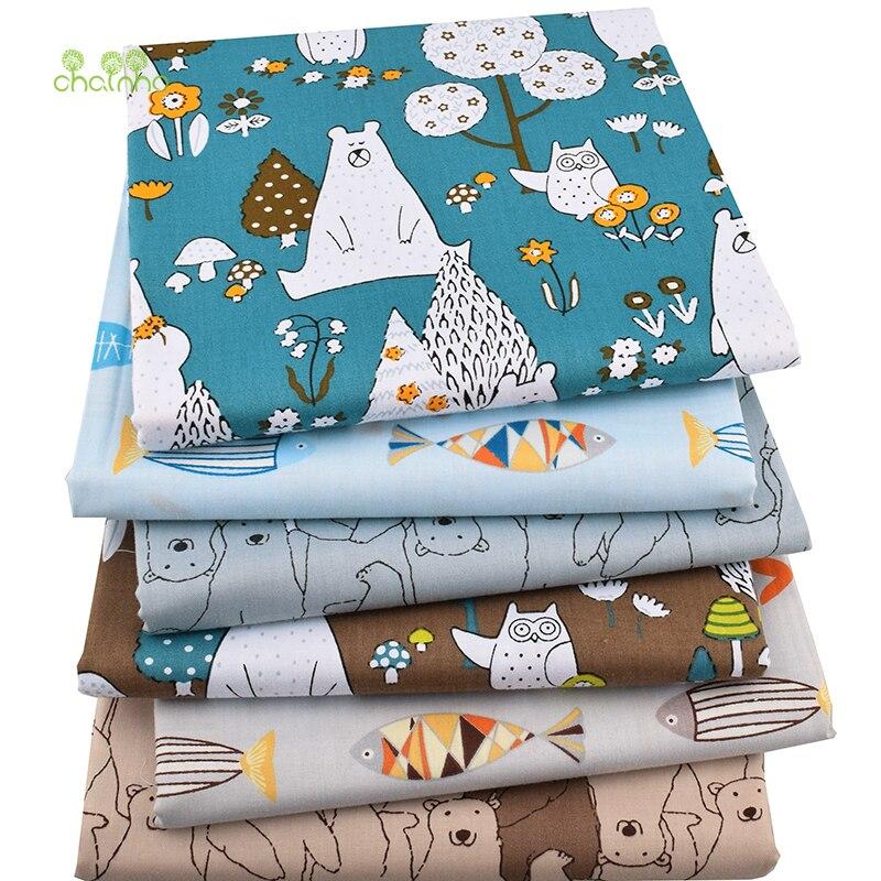 Chainho, 6 unids/lote, nuevos osos y peces, tela de algodón de sarga, tela de retazos, costura DIY acolchado de grasa Material para bebés y niños