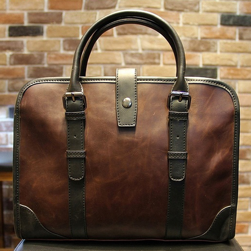 New Fashion Men Leather Briefcase Messenger Shoulder Bag Business Handbag Men's Travel Bags Retro Briefcase Male Bolsas