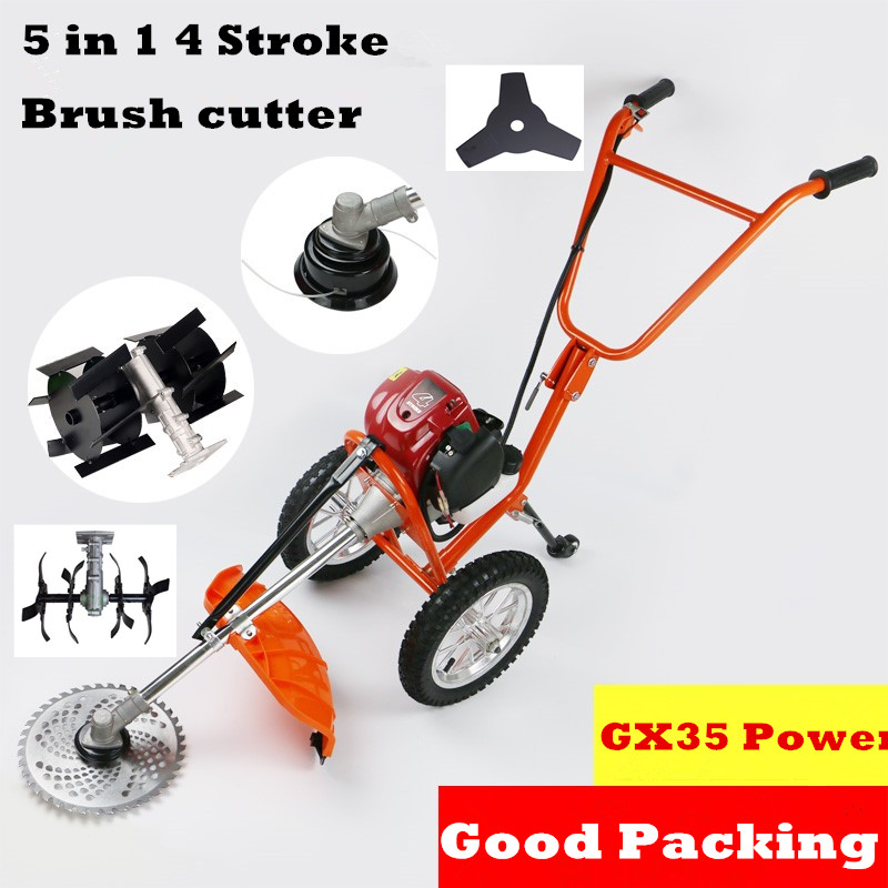 2018 New Quality 5 In 1 Multi Tool Brush Cutter 4 Stroke GX35 Engine Petrol Strimmer Grass Cutter Mini Tiller ,Grass Tiller