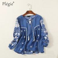 Plegie Womens Tops and Blouses 2018 Women Floral Embroidery Denim Blouse Lace Up V Neck Long Sleve Casual Blue Shirt Tops Blusas