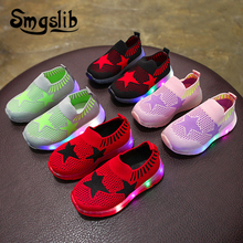 все цены на Children Loafer Boys Shoes With Light Kids Glowing Sneakers 2018 Spring Autumn Girls Colorful Led Lights Fashion Luminous Shoes онлайн