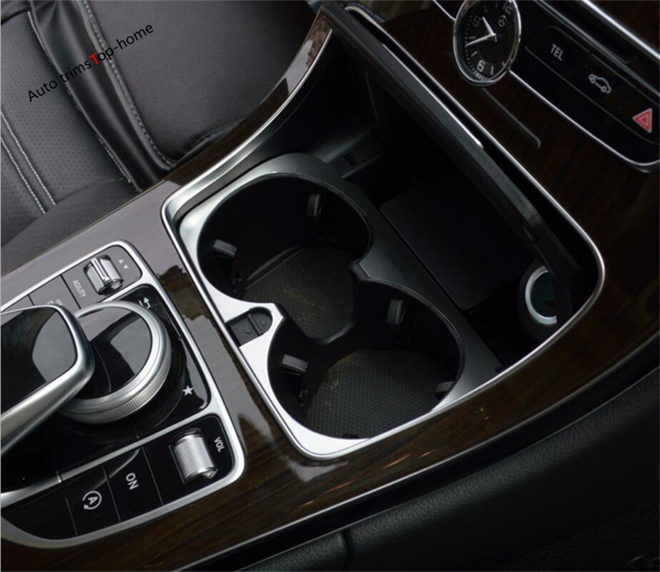 Yimaautotrims Colorful Interior For Mercedes-Benz C Class C200 <font><b>C300</b></font> <font><b>W205</b></font> 2015 - 2018 Metal Water Cup Holder Frame Cover Trim image