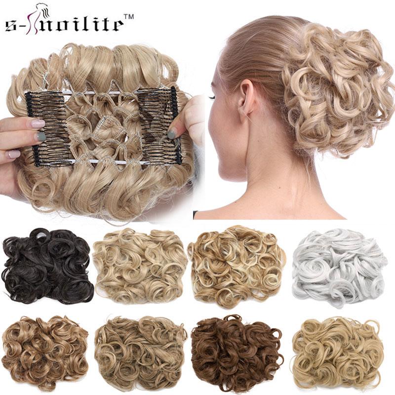 S-noilite 1pcs Synthetic Hair Big Bun Chignon Two Plastic Comb Clips In Chignon Hairpiece Women Updo Chignon Hair Extension