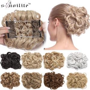 S-noilite, 1 шт., синтетические волосы, большой пучок, шиньон, два пластиковых гребня, клипсы в шиньон, шиньон для женщин, updo, шиньон, наращивание во...