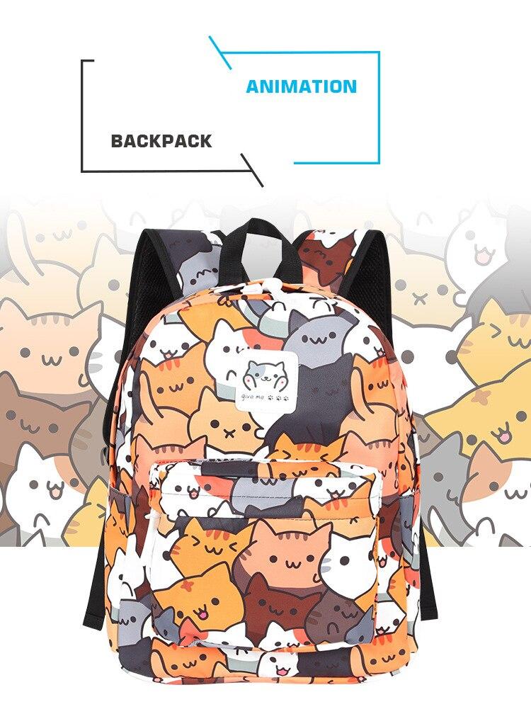 Anime Neko Atsume Women Backpack Cartoon For Girls Boys Travel