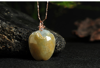 Excellent 100% A Grade Natural Yellow /Jadeite Apple Pendant With Certificate